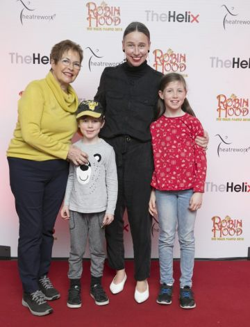 Pictured  Jan Brierton with her mother Maura and her children Willow 9yrs and Theo 6yrs  at the opening night of The Helix Pantomime, Robin Hood on Saturday night.   Photo: Leon Farrell/Photocall Ireland.