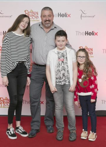 Pictured  Brendan, Olivia, Daniel and Emilia  at the opening night of The Helix Pantomime, Robin Hood on Saturday night.  Photo: Leon Farrell/Photocall Ireland.