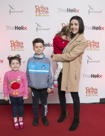 Pictured  Laura Doyle,Kyle,Noa and Brian  at the opening night of The Helix Pantomime, Robin Hood on Saturday night.  Photo: Leon Farrell/Photocall Ireland.