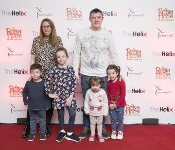 Pictured Kiliie,Frankie,Kayle,Joe,Kenzie, Kadie Kearney  at the opening night of The Helix Pantomime, Robin Hood on Saturday night.   Photo: Leon Farrell/Photocall Ireland.