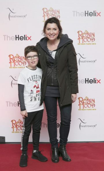 Pictured  Colette Fitzpatrick, with her son Milo at the opening night of The Helix Pantomime, Robin Hood on Saturday night.  Photo: Leon Farrell/Photocall Ireland.