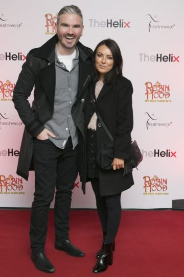 Pictured Killian O Sullivan and his partner  Debbie at the opening night of The Helix Pantomime, Robin Hood on Saturday night.  Photo: Leon Farrell/Photocall Ireland.