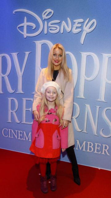 """Kerri Nicole Blanc and daughter Kayla pictured at a special preview screening of Disney's """"Mary Poppins Returns,"""" in the Light House cinema Dublin. Picture Andres Poveda"""
