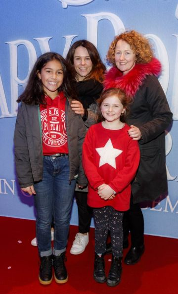 """Anne Tucker with daughter Oriel and Tracy Tucker with daughter Mable pictured at a special preview screening of Disney's """"Mary Poppins Returns,"""" in the Light House cinema Dublin. Picture Andres Poveda"""