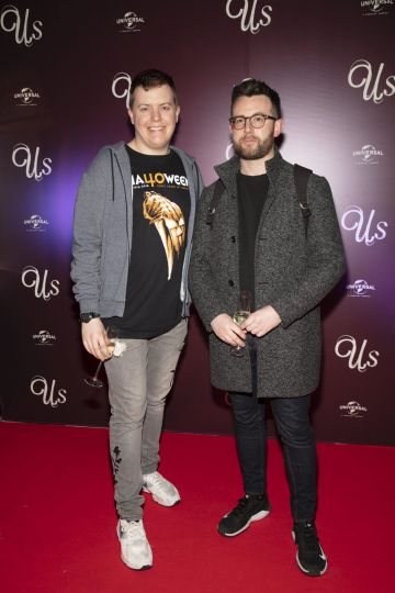 Conor Behan & David Mullane pictured at an exclusive first look of Jordan Peele's Us at The Stella Theatre, Ranelagh. Photo: Anthony Woods.