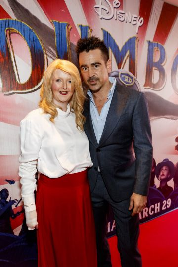 24/03/2019 Patient Ambassador of DEBRA Ireland Emma Fogarty is pictured with Colin Farrell on the red carpet at the Irish Premiere screening of Disney's DUMBO in the Light House Cinema Dublin. Picture: Andres Poveda
