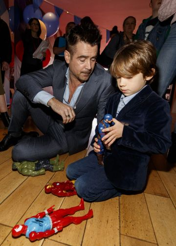 24/03/2019 Colin Farrell takes a few minutes to play with with Casper Quick (6) at the Irish Premiere screening of Disney's DUMBO in the Light House Cinema Dublin. Picture: Andres Poveda