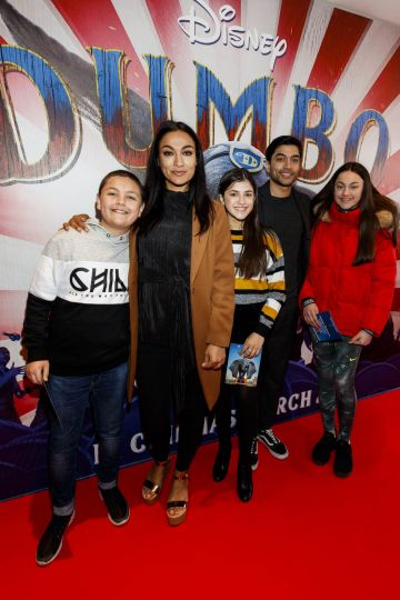 24/03/2019 Gail Kaneswarren with Jackson (left) Ruby, Trevor and Kiya at the Irish Premiere of Disney's DUMBO in the Light House Cinema Dublin. Picture: Andres Poveda