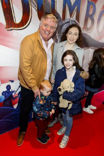 24/03/2019 Liam Coburn with Emma, Abigale (9), and Elliott Coburn (4) at the Irish Premiere of Disney's DUMBO in the Light House Cinema Dublin. Picture: Andres Poveda