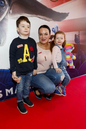 24/03/2019 Triona McCarthy with children Max and Minnie at the Irish Premiere of Disney's DUMBO in the Light House Cinema Dublin. Picture Andres Poveda