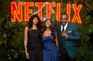 Sabrina Dhowre, Isan Elba, and Idris Elba attend the Netflix 2019 Golden Globes After Party on January 6, 2019 in Los Angeles, California.  (Photo by Tommaso Boddi/Getty Images for Netflix)