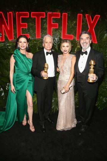 Catherine Zeta-Jones, Michael Douglas, Arielle Mandelson, and Chuck Lorre attend the Netflix 2019 Golden Globes After Party on January 6, 2019 in Los Angeles, California.  (Photo by Tommaso Boddi/Getty Images for Netflix)