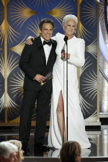 Presenters Ben Stiller and Jamie Lee Curtis speak onstage during the 76th Annual Golden Globe Awards at The Beverly Hilton Hotel on January 06, 2019 in Beverly Hills, California.  (Photo by Paul Drinkwater/NBCUniversal via Getty Images)