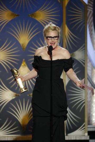 "Patricia Arquette from ""Escape at Dannemora"" accepts the Best Performance by an Actress in a Limited Series or Motion Picture Made for Television award onstage during the 76th Annual Golden Globe Awards at The Beverly Hilton Hotel on January 06, 2019 in Beverly Hills, California.  (Photo by Paul Drinkwater/NBCUniversal via Getty Images)"