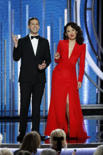 Hosts Andy Samberg and Sandra Oh  speak onstage during the 76th Annual Golden Globe Awards at The Beverly Hilton Hotel on January 06, 2019 in Beverly Hills, California.  (Photo by Paul Drinkwater/NBCUniversal via Getty Images)