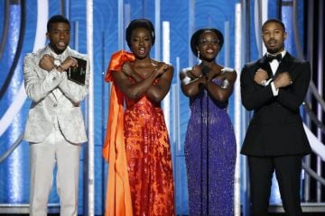 Presenters Chadwick Boseman, Danai Gurira, Lupita Nyong'o and Michael B. Jordan speak onstage during the 76th Annual Golden Globe Awards at The Beverly Hilton Hotel on January 06, 2019 in Beverly Hills, California.  (Photo by Paul Drinkwater/NBCUniversal via Getty Images)