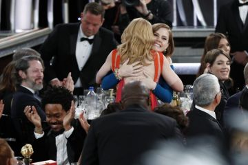 "Amy Adams hugs Patricia Clarkson, winner of  the Best Performance by an Actress in a Limited Series or Motion Picture Made for Television award for from ""Sharp Objects"",  during the 76th Annual Golden Globe Awards at The Beverly Hilton Hotel on January 06, 2019 in Beverly Hills, California.  (Photo by Paul Drinkwater/NBCUniversal via Getty Images)"