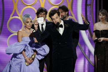 "Lady Gaga and Mark Ronson accept the Best Original Song - Motion Picture awards for ""Shallow""  from ""A Star Is Born""  onstage during the 76th Annual Golden Globe Awards at The Beverly Hilton Hotel on January 06, 2019 in Beverly Hills, California.  (Photo by Paul Drinkwater/NBCUniversal via Getty Images)"