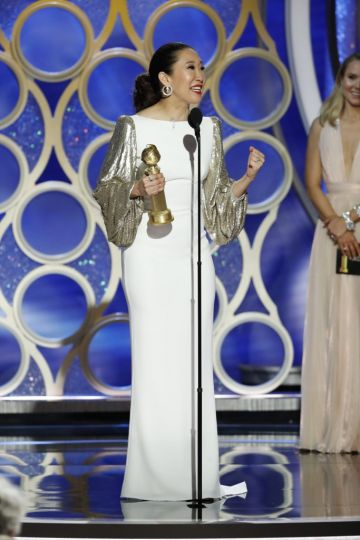 "Sandra Oh from ""Killing Eve"" accept the Best Performance by an Actress in a Television Series – Drama award  onstage during the 76th Annual Golden Globe Awards at The Beverly Hilton Hotel on January 06, 2019 in Beverly Hills, California.  (Photo by Paul Drinkwater/NBCUniversal via Getty Images)"
