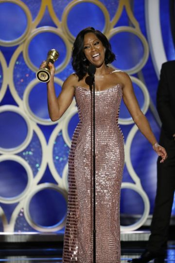 "Regina King from ""If Beale Street Could Talk"" accepts the Best Actress in a Supporting Role in any Motion Picture award onstage during the 76th Annual Golden Globe Awards at The Beverly Hilton Hotel on January 06, 2019 in Beverly Hills, California.  (Photo by Paul Drinkwater/NBCUniversal via Getty Images)"