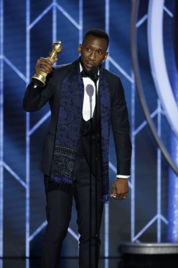 "Mahershala Ali from ""Green Book"" accepts the Best Actor in a Supporting Role in any Motion Picture award  onstage during the 76th Annual Golden Globe Awards at The Beverly Hilton Hotel on January 06, 2019 in Beverly Hills, California.  (Photo by Paul Drinkwater/NBCUniversal via Getty Images)"