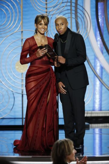 Halle Berry and Lena Waithe  speak onstage during the 76th Annual Golden Globe Awards at The Beverly Hilton Hotel on January 06, 2019 in Beverly Hills, California.  (Photo by Paul Drinkwater/NBCUniversal via Getty Images)