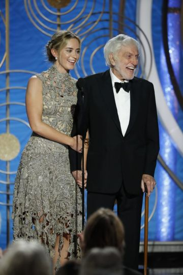 Presenters Emily Blunt and Dick Van Dyke  speak onstage during the 76th Annual Golden Globe Awards at The Beverly Hilton Hotel on January 06, 2019 in Beverly Hills, California.  (Photo by Paul Drinkwater/NBCUniversal via Getty Images)