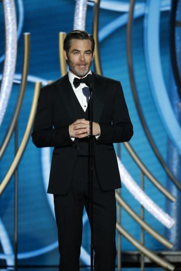Presenter Chris Pine   speaks onstage during the 76th Annual Golden Globe Awards at The Beverly Hilton Hotel on January 06, 2019 in Beverly Hills, California.  (Photo by Paul Drinkwater/NBCUniversal via Getty Images)