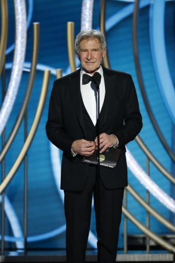 Presenter Harrison Ford speaks onstage during the 76th Annual Golden Globe Awards at The Beverly Hilton Hotel on January 06, 2019 in Beverly Hills, California.  (Photo by Paul Drinkwater/NBCUniversal via Getty Images)