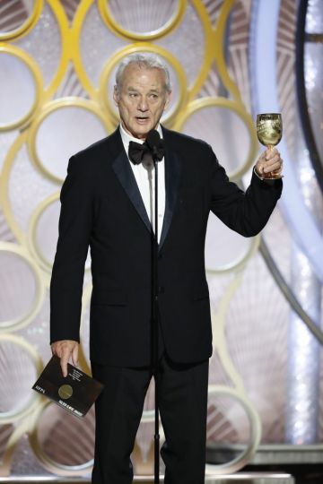Bill Murray speaks onstage during the 76th Annual Golden Globe Awards at The Beverly Hilton Hotel on January 06, 2019 in Beverly Hills, California.  (Photo by Paul Drinkwater/NBCUniversal via Getty Images)