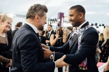 LOS ANGELES, CALIFORNIA - JANUARY 27:  (EDITORS NOTE: Image has been edited using a digital filter) Andy Serkis and Michael B. Jordan arrive at the 25th annual Screen Actors Guild Awards at The Shrine Auditorium on January 27, 2019 in Los Angeles, California. (Photo by Emma McIntyre/Getty Images for Turner)
