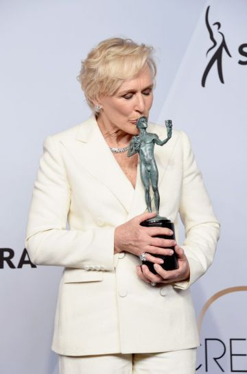 LOS ANGELES, CA - JANUARY 27:  Glenn Close poses in the press room with award for Outstanding Performance by a Female Actor in a Leading Role in 'The Wife' during the 25th Annual Screen ActorsGuild Awards at The Shrine Auditorium on January 27, 2019 in Los Angeles, California. 480645  (Photo by Gregg DeGuire/Getty Images for Turner)