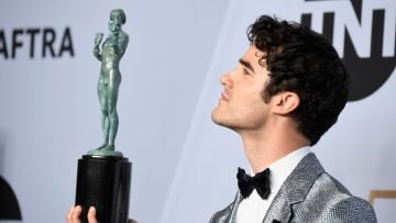 LOS ANGELES, CA - JANUARY 27:  Darren Criss, winner of Outstanding Performance by a Male Actor in a Miniseries or Television Movie for 'The Assassination of Gianni Versace,' poses in the press room during the 25th Annual Screen ActorsGuild Awards at The Shrine Auditorium on January 27, 2019 in Los Angeles, California.  (Photo by Frazer Harrison/Getty Images)