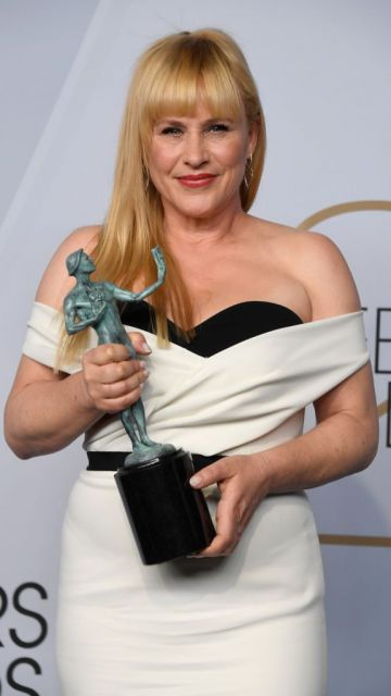 LOS ANGELES, CA - JANUARY 27:  Patricia Arquette, winner of  Outstanding Performance by a Female Actor in a Miniseries or Television Movie for 'Escape at Dannemora,' poses in the press room during the 25th Annual Screen ActorsGuild Awards at The Shrine Auditorium on January 27, 2019 in Los Angeles, California.  (Photo by Frazer Harrison/Getty Images)