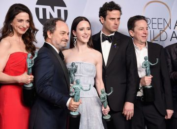 LOS ANGELES, CA - JANUARY 27:  (L-R) Marin Hinkle, Kevin Pollak, Rachel Brosnahan, Luke Kirby, and Brian Tarantina pose in the press room with awards for Outstanding Performance by an Ensemble in a Comedy Series in 'The Marvelous Mrs. Maisel' during the 25th Annual Screen ActorsGuild Awards at The Shrine Auditorium on January 27, 2019 in Los Angeles, California. 480645  (Photo by Gregg DeGuire/Getty Images for Turner)