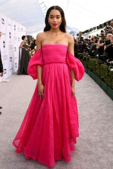 LOS ANGELES, CA - JANUARY 27:  Laura Harrier  attends the 25th Annual Screen Actors Guild Awards at The Shrine Auditorium on January 27, 2019 in Los Angeles, California.  (Photo by Presley Ann/Getty Images)