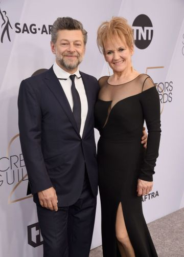 LOS ANGELES, CA - JANUARY 27:  Andy Serkis (L) and Lorraine Ashbourne attend the 25th Annual Screen Actors Guild Awards at The Shrine Auditorium on January 27, 2019 in Los Angeles, California.  (Photo by Presley Ann/Getty Images)