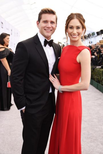 LOS ANGELES, CA - JANUARY 27:  Allen Leech (L) and Jessica Blair Herman attend the 25th Annual Screen Actors Guild Awards at The Shrine Auditorium on January 27, 2019 in Los Angeles, California.  (Photo by Presley Ann/Getty Images)