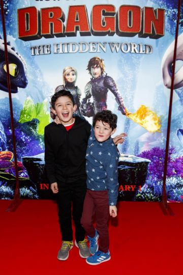 Repro Free: 27/01/2019 Monty (8)  and Ewan Feonander (5) pictured at the Irish premiere screening of HOW TO TRAIN YOUR DRAGON: THE HIDDEN WORLD at the Light House Cinema, Dublin. Starring Kit Harrington, Cate Blanchett, America Ferrera, Jonah Hill, Kristen Wiig and Jay Baruchel, HOW TO TRAIN YOUR DRAGON : THE HIDDEN WORLD hits cinemas across Ireland from February 1st. Now chief and ruler of Berk alongside Astrid, Hiccup has created a gloriously chaotic dragon utopia.  When the sudden appearance of female Light Fury coincides with the darkest threat their village has ever faced, Hiccup and Toothless must leave the only home they've known and journey to a hidden world thought only to exist in myth.  As their true destines are revealed, dragon and rider will fight together—to the very ends of the Earth—to protect everything they've grown to treasure. Picture Andres Poveda