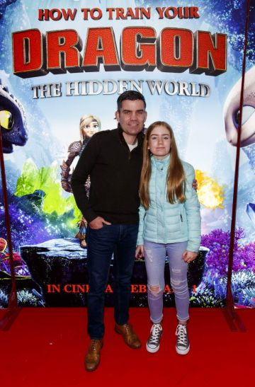 Repro Free: 27/01/2019 Bernard Dunne and daughter Caoimhe (12)pictured at the Irish premiere screening of HOW TO TRAIN YOUR DRAGON: THE HIDDEN WORLD at the Light House Cinema, Dublin. Starring Kit Harrington, Cate Blanchett, America Ferrera, Jonah Hill, Kristen Wiig and Jay Baruchel, HOW TO TRAIN YOUR DRAGON : THE HIDDEN WORLD hits cinemas across Ireland from February 1st. Now chief and ruler of Berk alongside Astrid, Hiccup has created a gloriously chaotic dragon utopia.  When the sudden appearance of female Light Fury coincides with the darkest threat their village has ever faced, Hiccup and Toothless must leave the only home they've known and journey to a hidden world thought only to exist in myth.  As their true destines are revealed, dragon and rider will fight together—to the very ends of the Earth—to protect everything they've grown to treasure. Picture Andres Poveda