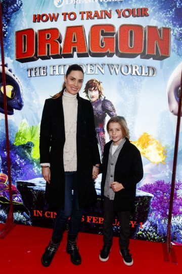Repro Free: 27/01/2019 Alison Canavan and her son James pictured at the Irish premiere screening of HOW TO TRAIN YOUR DRAGON: THE HIDDEN WORLD at the Light House Cinema, Dublin. Starring Kit Harrington, Cate Blanchett, America Ferrera, Jonah Hill, Kristen Wiig and Jay Baruchel, HOW TO TRAIN YOUR DRAGON : THE HIDDEN WORLD hits cinemas across Ireland from February 1st. Now chief and ruler of Berk alongside Astrid, Hiccup has created a gloriously chaotic dragon utopia.  When the sudden appearance of female Light Fury coincides with the darkest threat their village has ever faced, Hiccup and Toothless must leave the only home they've known and journey to a hidden world thought only to exist in myth.  As their true destines are revealed, dragon and rider will fight together—to the very ends of the Earth—to protect everything they've grown to treasure. Picture Andres Poveda
