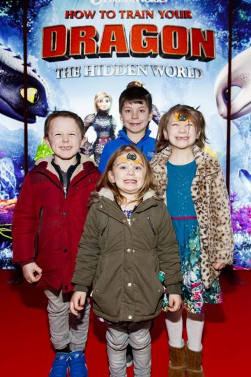 Repro Free: 27/01/2019 Dexter Walker (5), Dylan Serman (9), Esme Walker (3) and Stacey Sherman (6) pictured at the Irish premiere screening of HOW TO TRAIN YOUR DRAGON: THE HIDDEN WORLD at the Light House Cinema, Dublin. Starring Kit Harrington, Cate Blanchett, America Ferrera, Jonah Hill, Kristen Wiig and Jay Baruchel, HOW TO TRAIN YOUR DRAGON : THE HIDDEN WORLD hits cinemas across Ireland from February 1st. Now chief and ruler of Berk alongside Astrid, Hiccup has created a gloriously chaotic dragon utopia.  When the sudden appearance of female Light Fury coincides with the darkest threat their village has ever faced, Hiccup and Toothless must leave the only home they've known and journey to a hidden world thought only to exist in myth.  As their true destines are revealed, dragon and rider will fight together—to the very ends of the Earth—to protect everything they've grown to treasure. Picture Andres Poveda