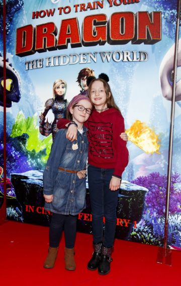 Sadhbh Dowling (9) and Emily Woods (8) pictured at the Irish premiere screening of HOW TO TRAIN YOUR DRAGON: THE HIDDEN WORLD at the Light House Cinema, Dublin. Picture Andres Poveda