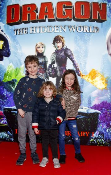 Repro Free: 27/01/2019 James (7) Emily (7) and Ben Baij (4)  pictured at the Irish premiere screening of HOW TO TRAIN YOUR DRAGON: THE HIDDEN WORLD at the Light House Cinema, Dublin. Starring Kit Harrington, Cate Blanchett, America Ferrera, Jonah Hill, Kristen Wiig and Jay Baruchel, HOW TO TRAIN YOUR DRAGON : THE HIDDEN WORLD hits cinemas across Ireland from February 1st. Now chief and ruler of Berk alongside Astrid, Hiccup has created a gloriously chaotic dragon utopia.  When the sudden appearance of female Light Fury coincides with the darkest threat their village has ever faced, Hiccup and Toothless must leave the only home they've known and journey to a hidden world thought only to exist in myth.  As their true destines are revealed, dragon and rider will fight together—to the very ends of the Earth—to protect everything they've grown to treasure. Picture Andres Poveda