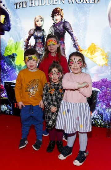 Repro Free: 27/01/2019 Franky (2), Kenzy (2) Katy (3) and Kayla Kearney (8) pictured at the Irish premiere screening of HOW TO TRAIN YOUR DRAGON: THE HIDDEN WORLD at the Light House Cinema, Dublin. Starring Kit Harrington, Cate Blanchett, America Ferrera, Jonah Hill, Kristen Wiig and Jay Baruchel, HOW TO TRAIN YOUR DRAGON : THE HIDDEN WORLD hits cinemas across Ireland from February 1st. Now chief and ruler of Berk alongside Astrid, Hiccup has created a gloriously chaotic dragon utopia.  When the sudden appearance of female Light Fury coincides with the darkest threat their village has ever faced, Hiccup and Toothless must leave the only home they've known and journey to a hidden world thought only to exist in myth.  As their true destines are revealed, dragon and rider will fight together—to the very ends of the Earth—to protect everything they've grown to treasure. Picture Andres Poveda