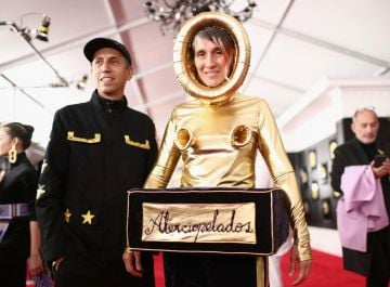 LOS ANGELES, CA - FEBRUARY 10: (L-R) Hector Buitrado and Andrea Echeverry from Colombian rock band Aterciopelados attend the 61st Annual GRAMMY Awards at Staples Center on February 10, 2019 in Los Angeles, California.  (Photo by Rich Fury/Getty Images for The Recording Academy)
