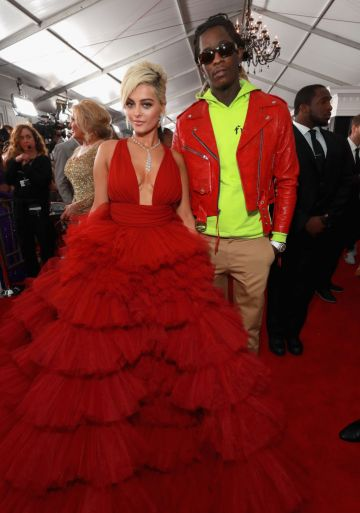 LOS ANGELES, CA - FEBRUARY 10:  Bebe Rexha and Young Thug attend the 61st Annual GRAMMY Awards at Staples Center on February 10, 2019 in Los Angeles, California.  (Photo by Rich Fury/Getty Images for The Recording Academy)