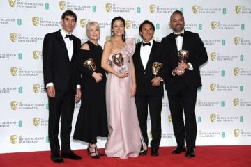 LONDON, ENGLAND - FEBRUARY 10:  Winners of the Documentary award, Alex Honnold, Shannon Dill, Elizabeth Chai Vasarhelyi, Jimmy Chin and Evan Hayes pose in the press room during the EE British Academy Film Awards at Royal Albert Hall on February 10, 2019 in London, England. (Photo by Pascal Le Segretain/Getty Images)