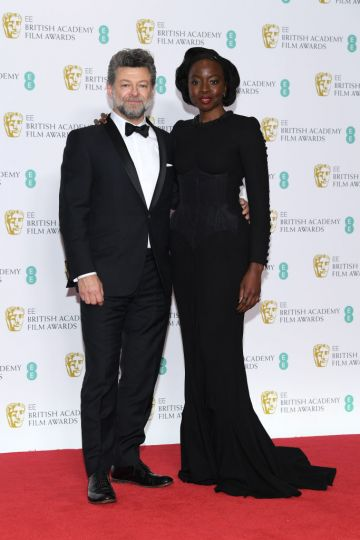 LONDON, ENGLAND - FEBRUARY 10:  Andy Serkis (L) and Danai Gurira pose in the press room during the EE British Academy Film Awards at Royal Albert Hall on February 10, 2019 in London, England. (Photo by Pascal Le Segretain/Getty Images)