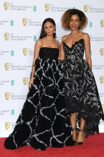 LONDON, ENGLAND - FEBRUARY 10:  Thandie Newton (L) and Sophie Okonedo pose in the press room during the EE British Academy Film Awards at Royal Albert Hall on February 10, 2019 in London, England. (Photo by Pascal Le Segretain/Getty Images)